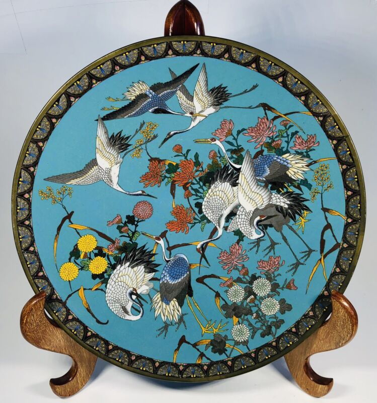 Antique 1920s Chinese Cloisonne Enamel on Bronze Plate 12""