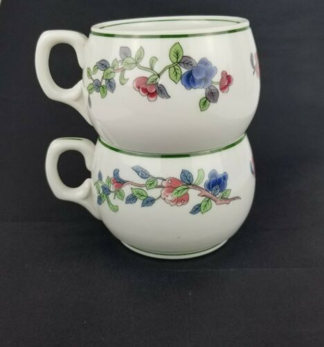 2 Buffalo China Mandalay Green Rings Flowers Restaurant Ware Coffee Tea Cups EUC