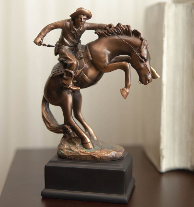 Ebros Rustic Western Rodeo Cowboy W/ Rearing Horse Bronze Electroplated Figurine