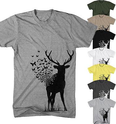 Herren T-Shirt Hirsch Deer Art Schmetterling Natur Tier Urban Neu S-5XL BD21817 ()