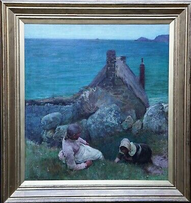 JOHN WHITE BRITISH 19thC CORNISH COASTAL PORTRAIT OIL PAINTING SENNEN CORNWALL
