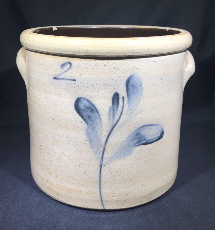 Antique Salt Glazed Stoneware Crock - J. Fisher & Co; Lyons, NY
