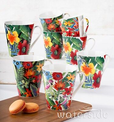 Kaffeebecherset 8teilig Tropical Design Porzellan Waterside England Tassen Design Becher