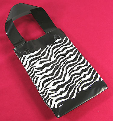 50 Zebra Print Frosted Plastic Goodie Treat Merchandise Party Handle Bags 5x7