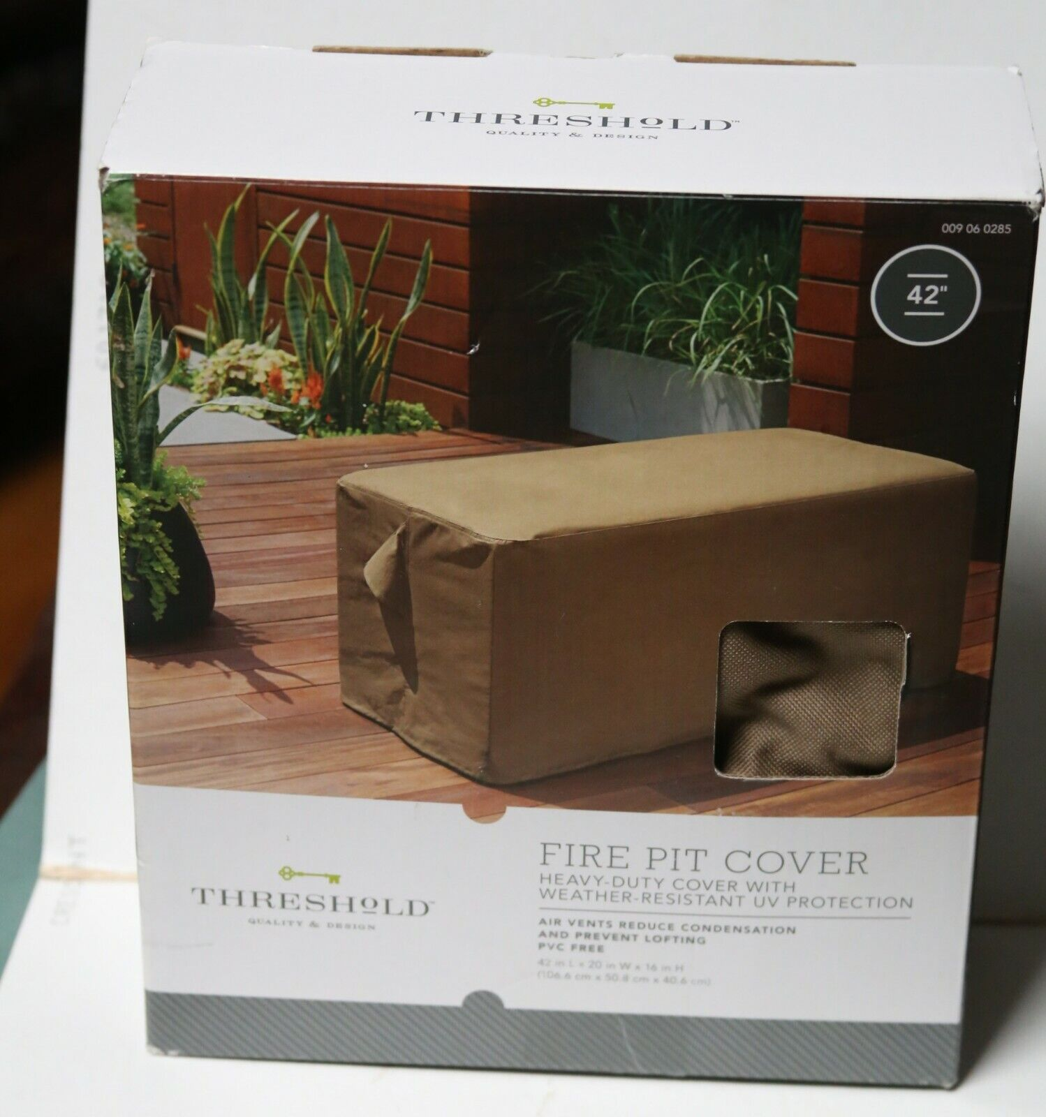 """Threshold FIRE PIT Table Cover - Heavy Duty 42""""x20""""x16"""" Rect"""