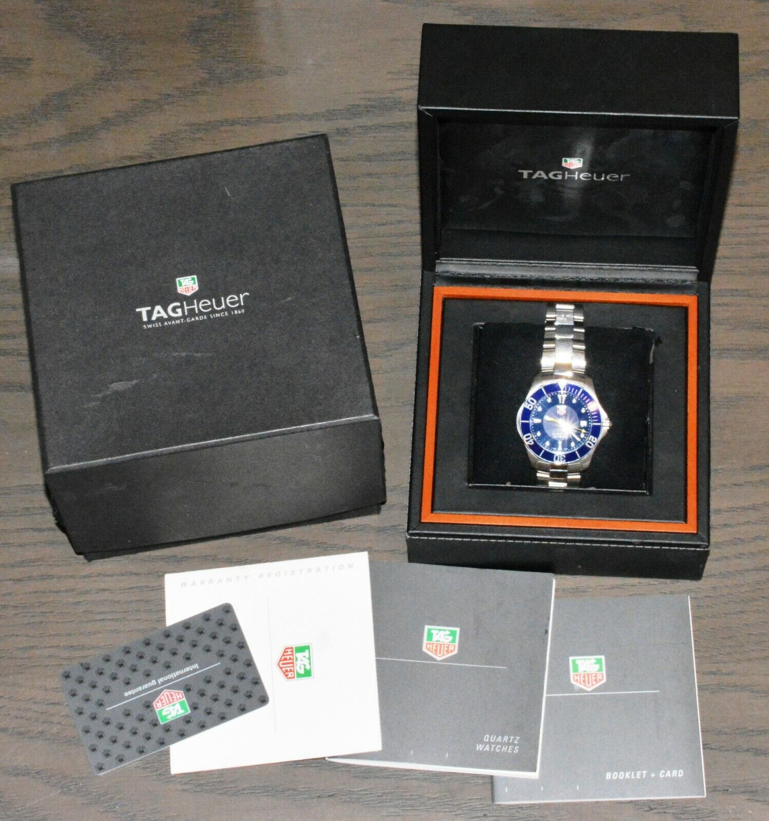 Tag Heuer WAB1112.BA0801 BLUE Aquaracer Watch Mens Professional Box Silver SS