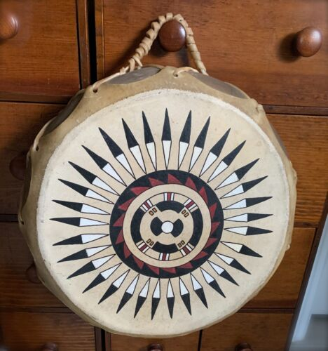"""Native American Indian Taos Painted Drum Rawhide & Wood 13"""" ~ Double sided"""