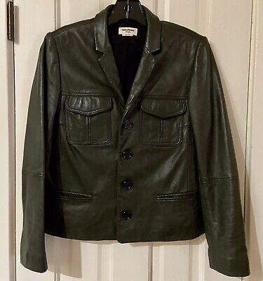 ZADIG & VOLTAIRE Dark Brown LAMBSKIN Leather Button Down Jacket SZ M Sweet! Lined Lambskin Leather
