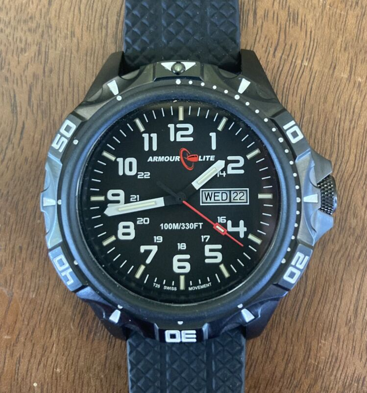 Armourlite Professional Series AL1412 Black Steel Watch MSRP $480