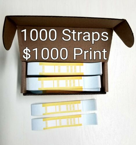 1000 Self Sealing YELLOW $1000 Currency Straps Money Bills Paper Bands USA Made
