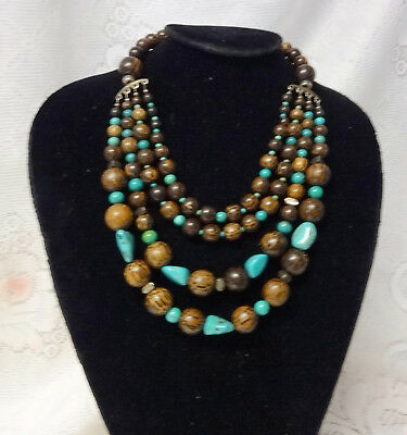 Sterling Silver Turquoise African Couture Fashion Hard Wood Necklace WOW