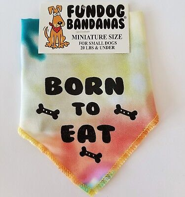 Born to Eat - Fun Dog Bandana S - Tie-Dye  - 100% of SALE BENEFITS RESCUE