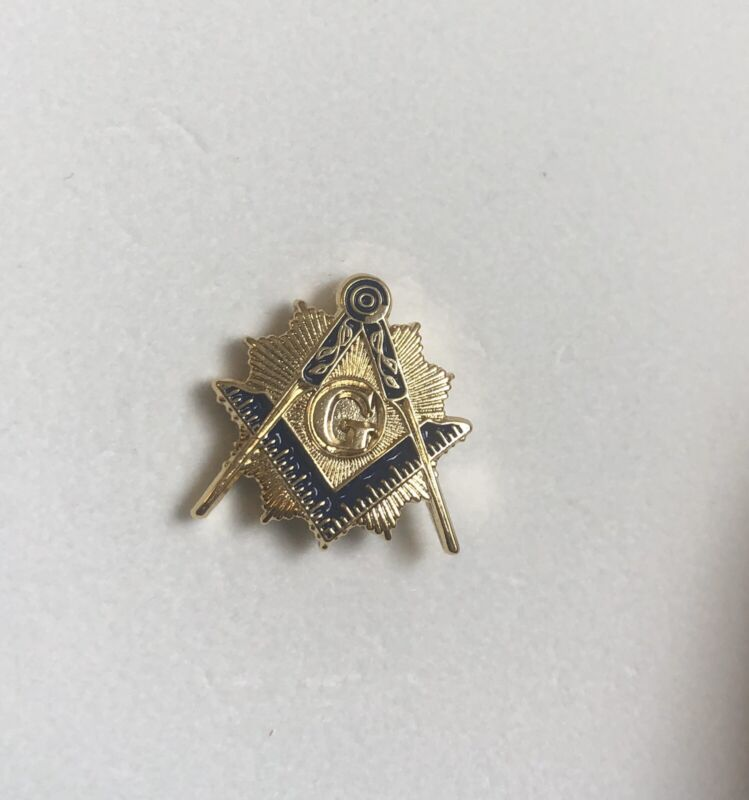 Masonic Square and Compass Blazing Gold Lapel Pin Rare