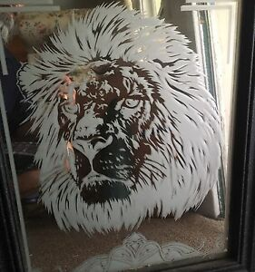 Sandblasted, custom plate mirror with frame