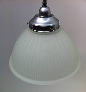 Ceiling light - 30cm frost glass shade on satin chrome rod Bayswater Knox Area Preview