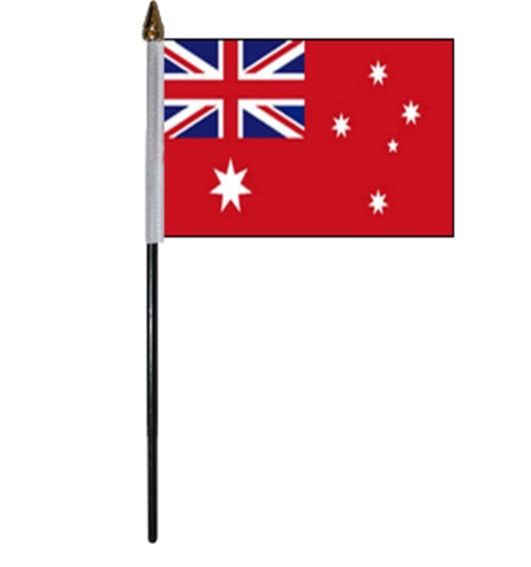 "AUSTRALIAN RED ENSIGN SMALL HAND WAVING FLAG 6""X4"" flags AUSTRALIA"