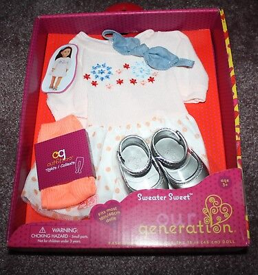 Nib Our Generation Sweater Sweet Outfit Clothes Shoes 18  Doll Fit American Girl