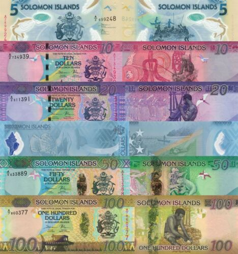 Solomon Islands 6 Note Set - 5 to 100 Dollars (ND/2017-2019) pNew, p33-p37 UNC