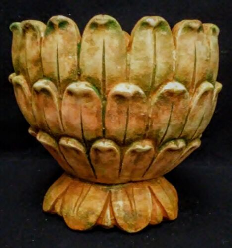 "Vintage Artichoke Urn 10"" Terracotta and Green"