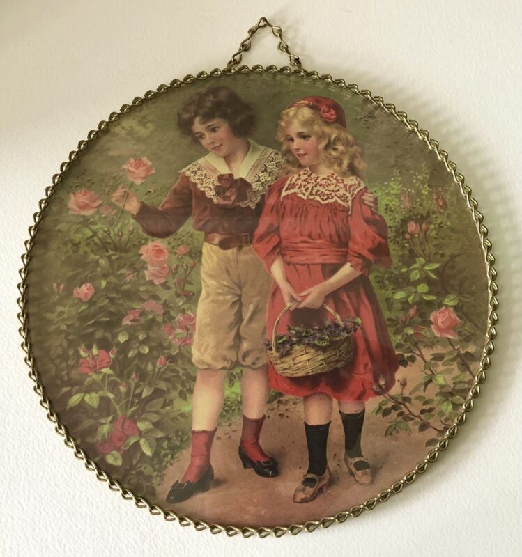 Vintage Flue Cover Victorian Style BOY & GIRL PICKING FLOWERS Glass Chain Border