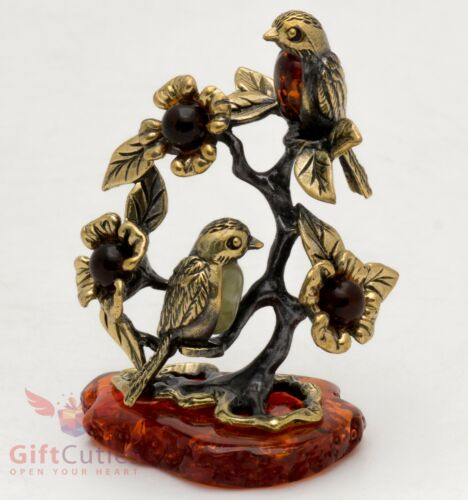 Solid Brass Amber Figurine of tit Birds sitting on a tree branches IronWork