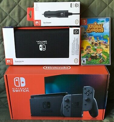 Nintendo Switch 32GB Gray Console + Animal Crossing Game + Case + Car Charger!🔥
