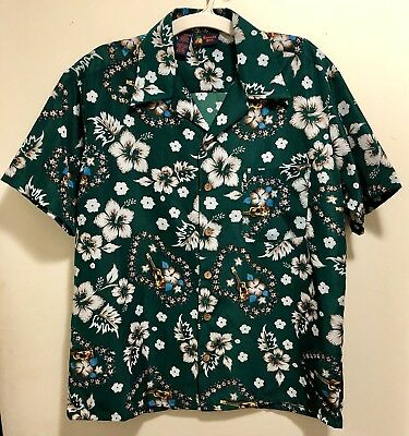 6e8ffc8a New Roundy Bay Hawaiian Ukuleles Hibiscus Floral Leis Aloha Shirt Men's L