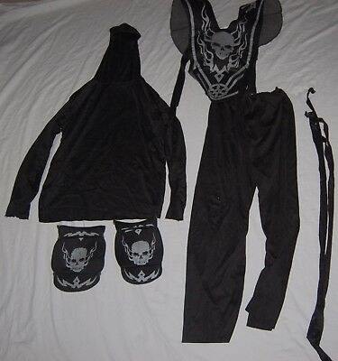 Spirit Halloween Boys Ninja Costume Cosplay Black Gray Hood Knee Pads Chest  - Ninja Costume Spirit Halloween