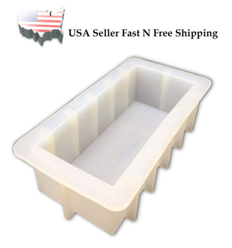 """Rectangular White Silicone DIY Rectangle 42oz Mould Loaf Soap Mold 8"""" US Stock"""