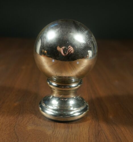 Vintage Mercury Glass Butlers Gazing Ball with Matching Mercury Glass Pedestal