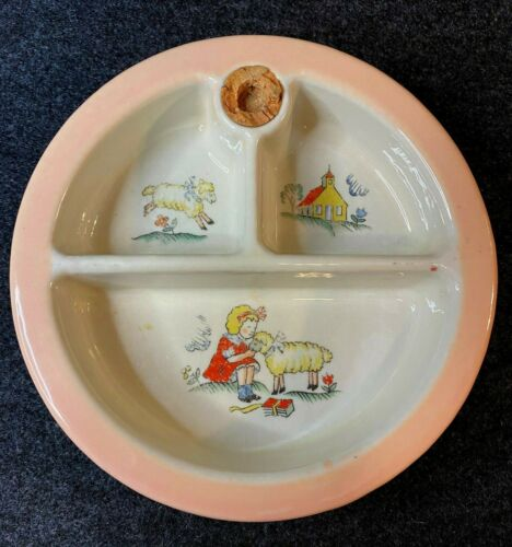 Vintage Hankscraft #962 Mary Lamb Baby Food Ceramic Warming Dish w/Cork Stopper