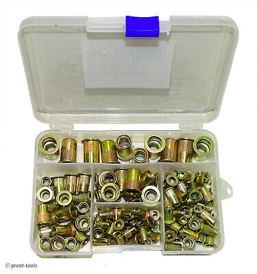 Rivnut Assortment 120-pcs Sae Sizes Rivet Nuts Fasteners Threaded Inserts