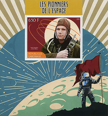 Gabon 2015 MNH Pioneers of Space 1v S/S Yuri Gagarin Stamps