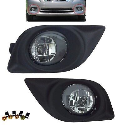 REPLACEMENT FOG LIGHT SET CLEAR LAMPS BEZELS FOR 2012-2014 NISSAN