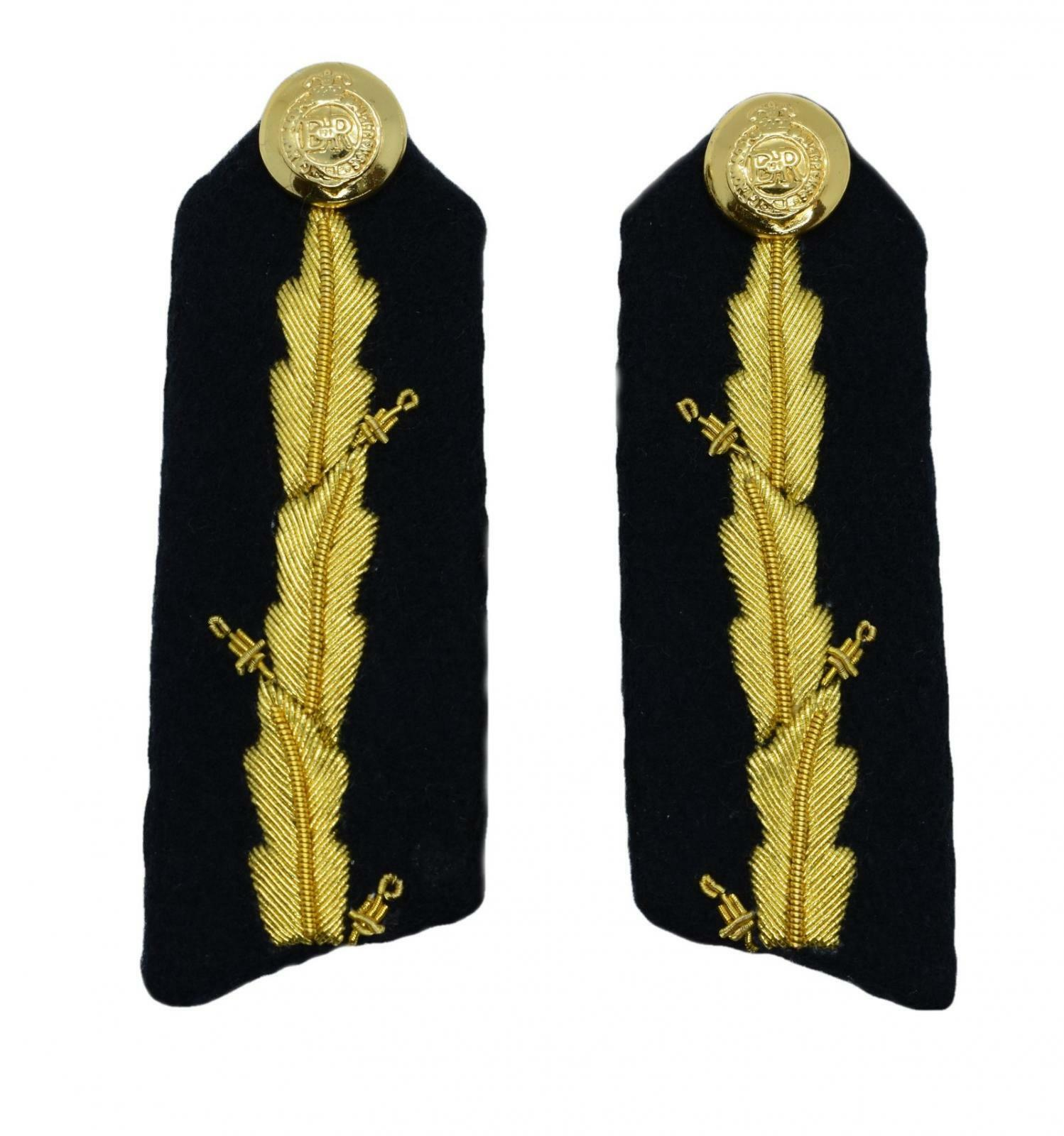 Gorget Gold 3 Leaves on black with Clip 3 3/4 Inch