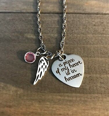 Memorial necklace Child Mom Dad son Daughter jewelry birthstone Angel wing gift