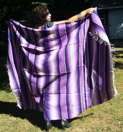 "Mexican Serape Sarape Fringed Blanket Bedspread 84"" x 60"" Purple Lavender White"