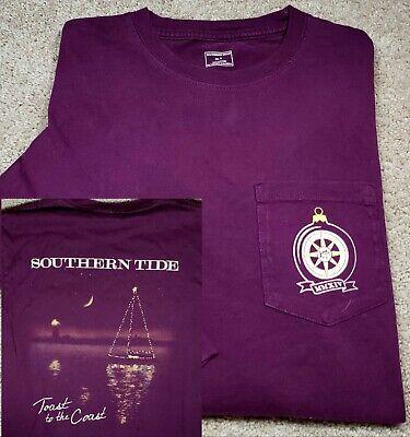 New! SOUTHERN TIDE-Plum Comb Cttn, Mens LS, Novelty Print Logo Tee w/Pkt-(S) ()