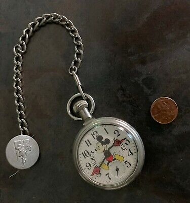 Vintage Mickey Mouse Pocket Watch w/Chain, Working Condition, USA
