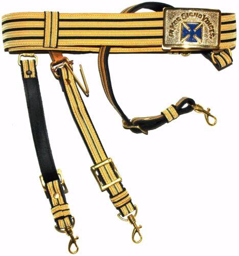 KNIGHTS TEMPLAR GOLDEN & BLACK Sword Belt/Buckle Sir Knight Size 50 GOLD/BLUE
