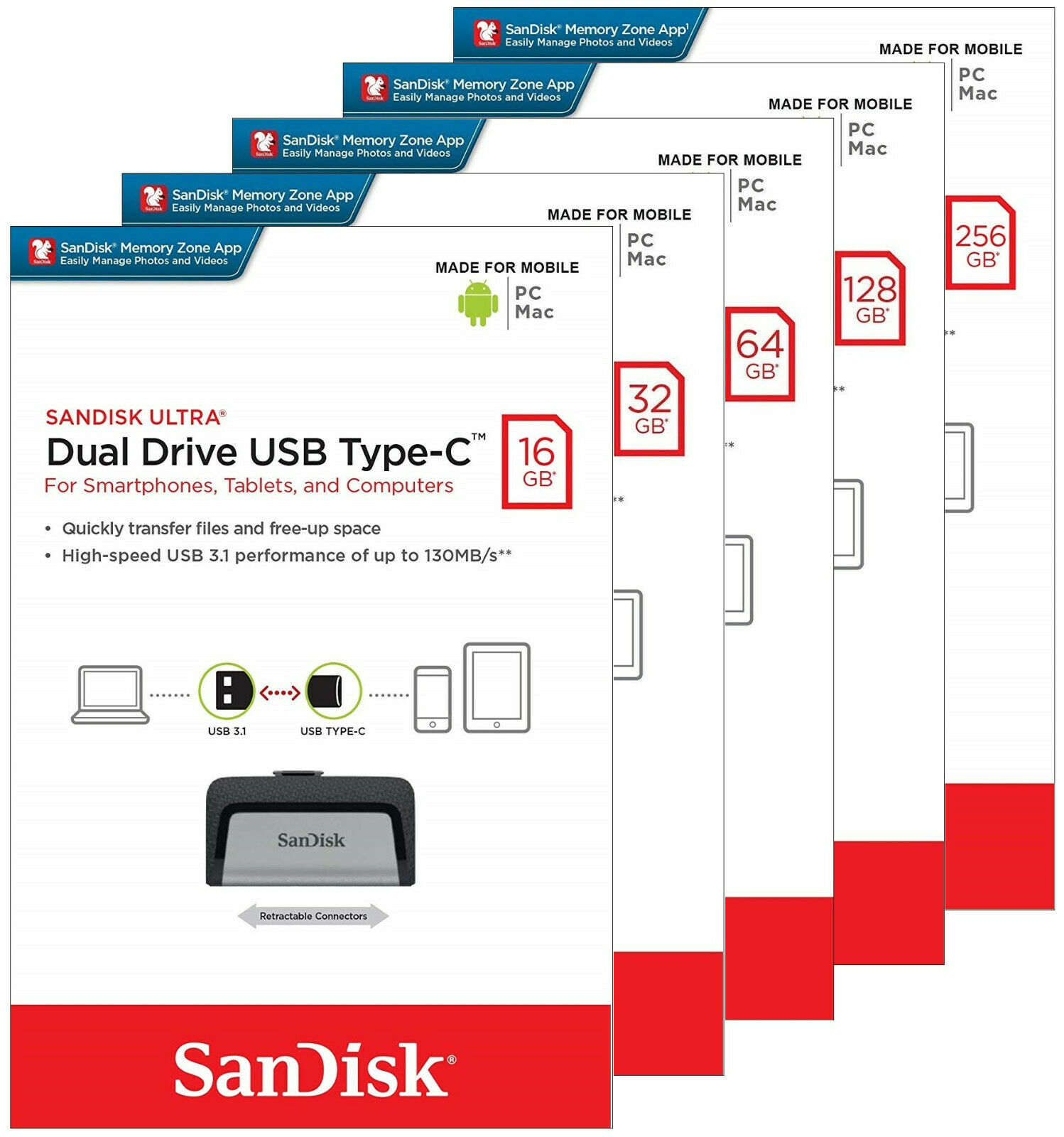 как выглядит SanDisk Ultra Dual TYPE C 16GB 32GB 64GB 128GB 256GB USB 3.1 Flash Drive Lot фото