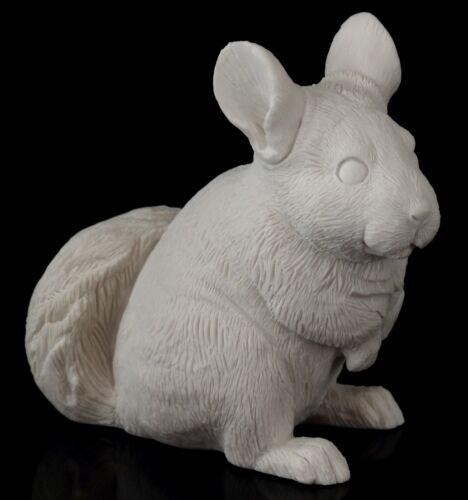 Chinchilla White Marble Figurine Animal Sculpture Russian Art Stone Statue 3""