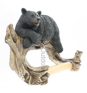 Black Bear Lounging Toilet Paper Holder - Outdoor Cabin Lodge Decor