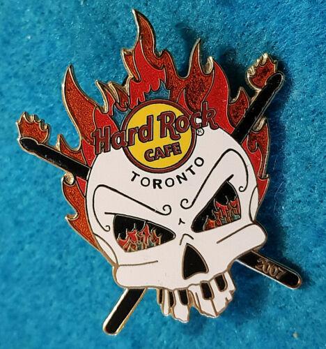 TORONTO CANADA HRC FLAME HEAD SKULL DRUMSTICKS 2007 Hard Rock Cafe PIN LE