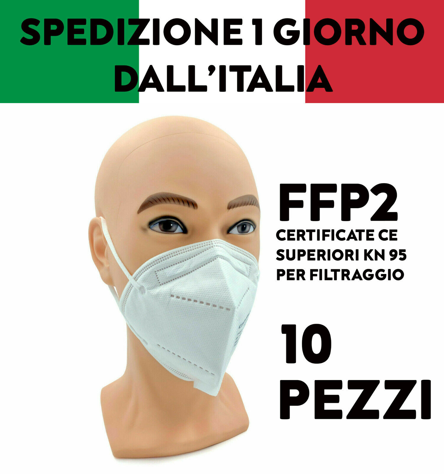 10 MASCHERINE FFP2 MASCHERE FACCIALI FILTRANTI CERTIFICATE CE PROTETTIVE MONOUSO