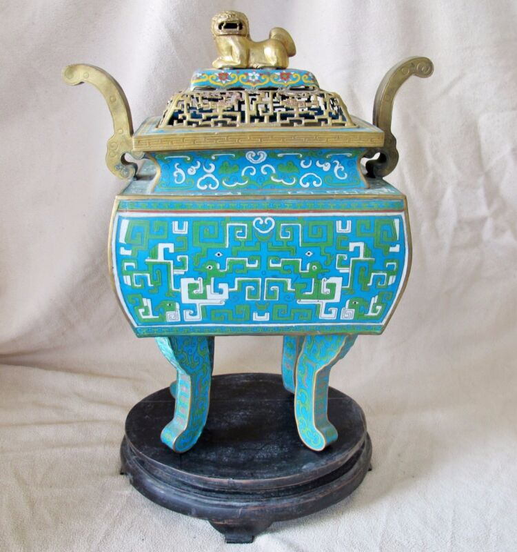 """BIG 19.75"""" Antique ? Chinese Archaic Style Cloisonne Censer w/ Foo Dog & Stand"""
