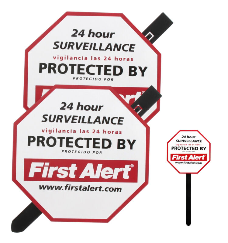 First Alert Video Security Surveillance Yard Sign, 2 Pack - with Yard Stake