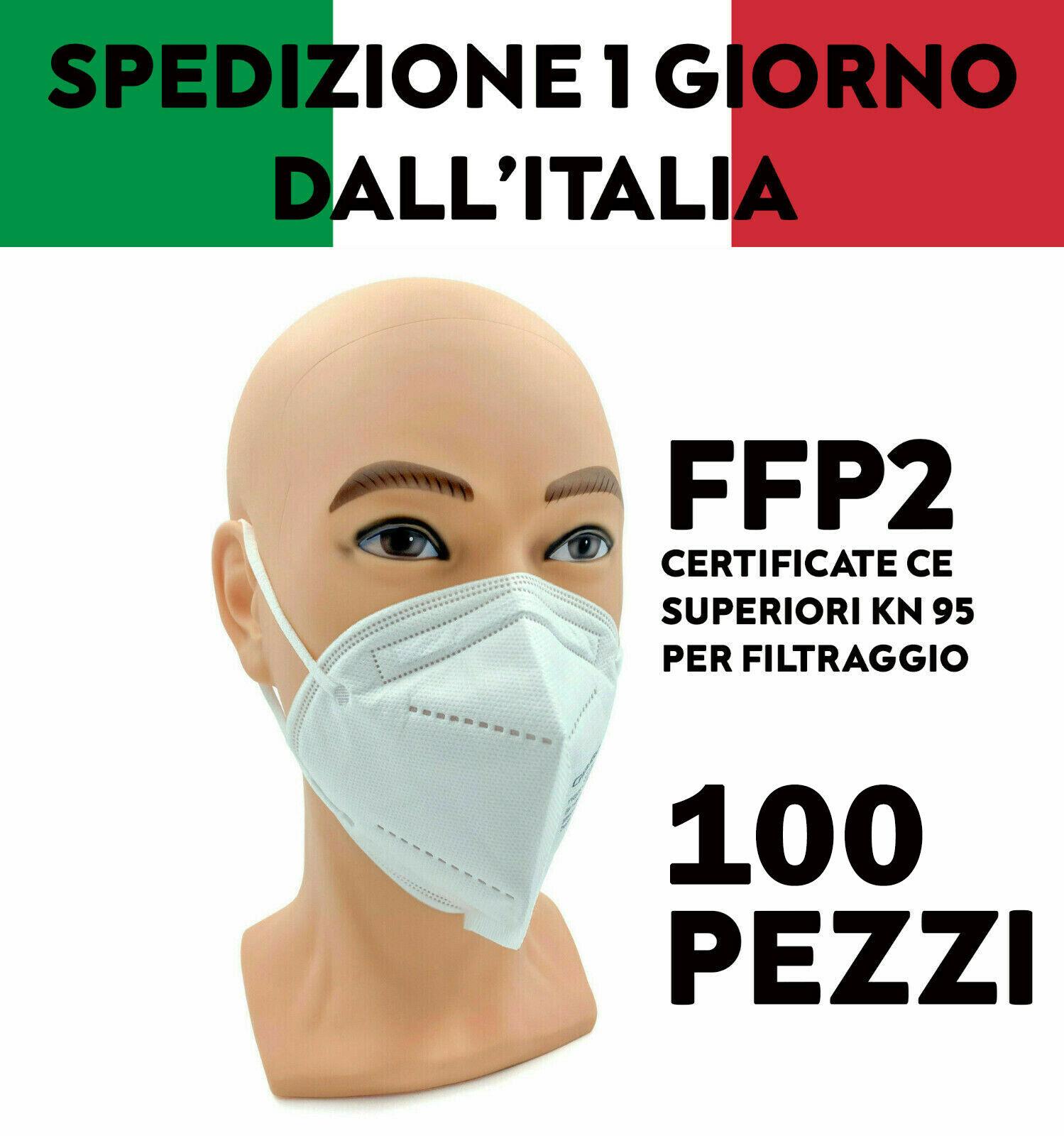 100 MASCHERINE FFP2 PROTETTIVE CERTIFICATE FILTRANTI MONOUSO 5 STRATI MASCHERE
