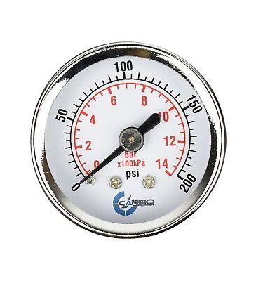 1-12 Pressure Gauge - Chrome Plate Steel Case 18npt Back Mnt. 200 Psi