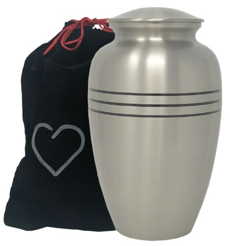 Momentful Life Classic Pewter Cremation Urn - Hand Engraved Accents - Silver